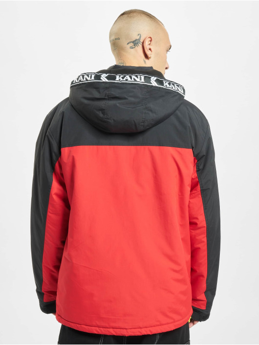 Karl Kani Winterjacke Retro Tape Block rot
