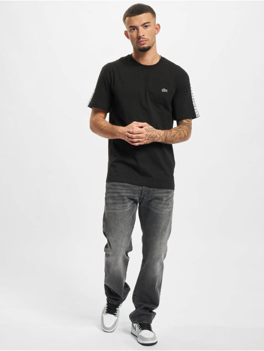 Lacoste T-shirt Logo Tape nero