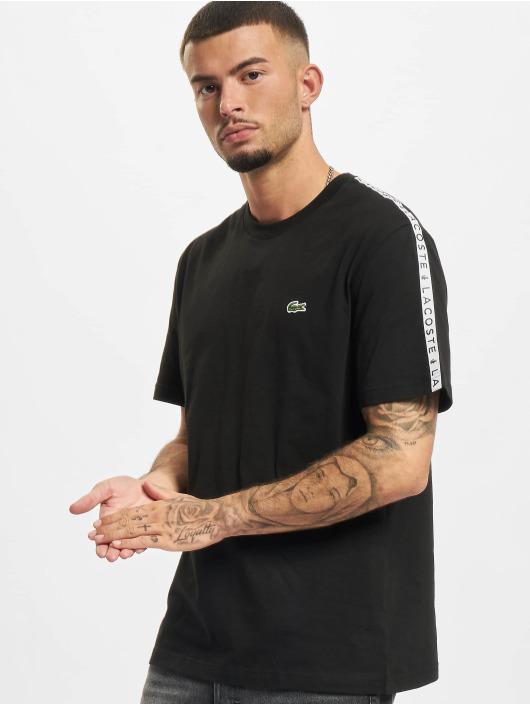 Lacoste t-shirt Logo Tape zwart