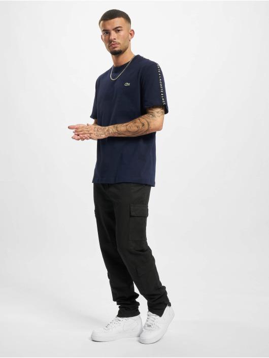 Lacoste T-Shirty Logo Tape niebieski