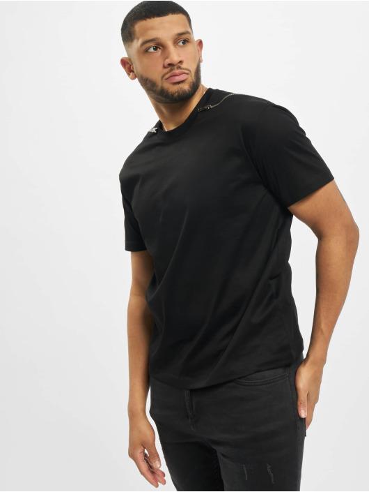 Les Hommes Camiseta Zip negro