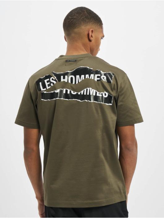 Les Hommes T-Shirt Broken green