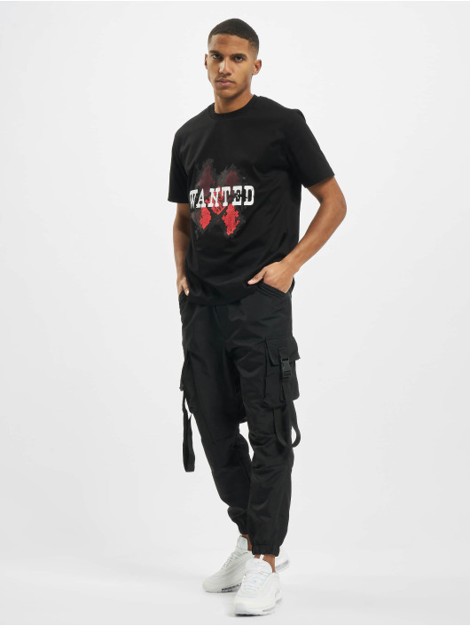 Les Hommes T-Shirt Wanted schwarz