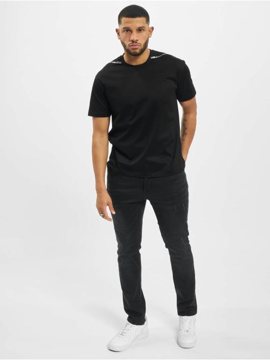 Les Hommes T-shirt Zip svart