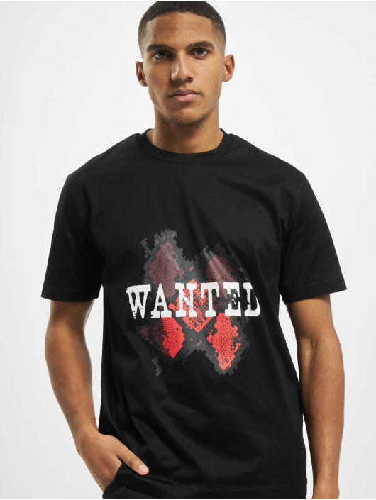 Les Hommes T-Shirty Wanted czarny