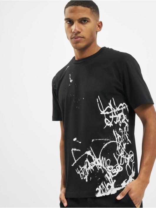 Les Hommes T-Shirty Graffiti szary