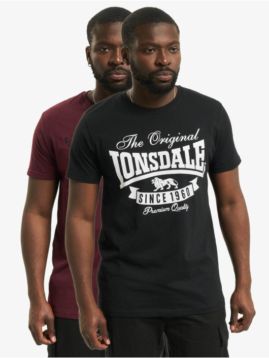 Lonsdale London Футболка Torbay - Double Pack черный