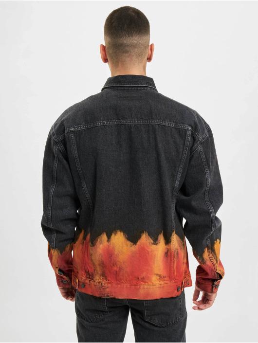 Marcelo Burlon Chaqueta Vaquera Bleach Flame Pleat negro