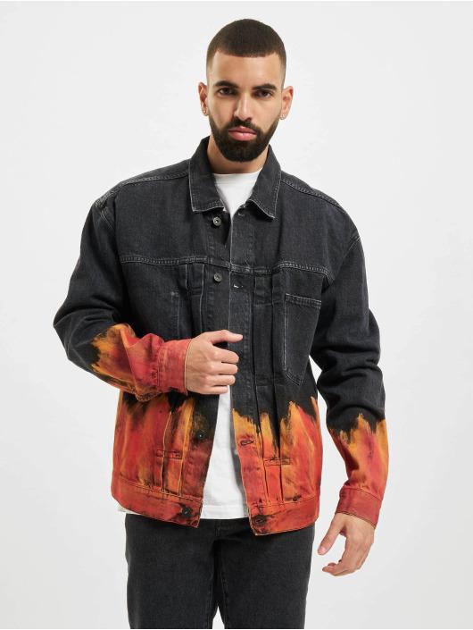 Marcelo Burlon Džínová bunda Bleach Flame Pleat čern