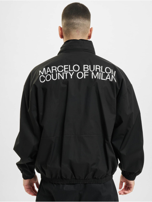 Marcelo Burlon Lightweight Jacket Logo Tech Cott Hood black