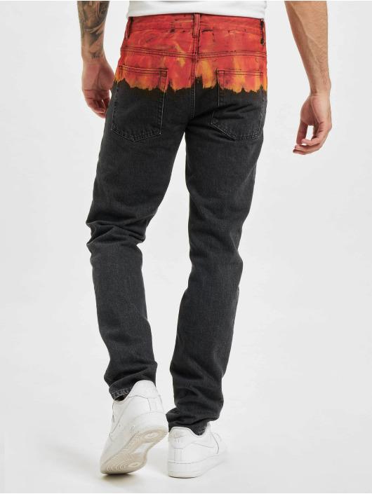 Marcelo Burlon Slim Fit Jeans Bleach Flames nero