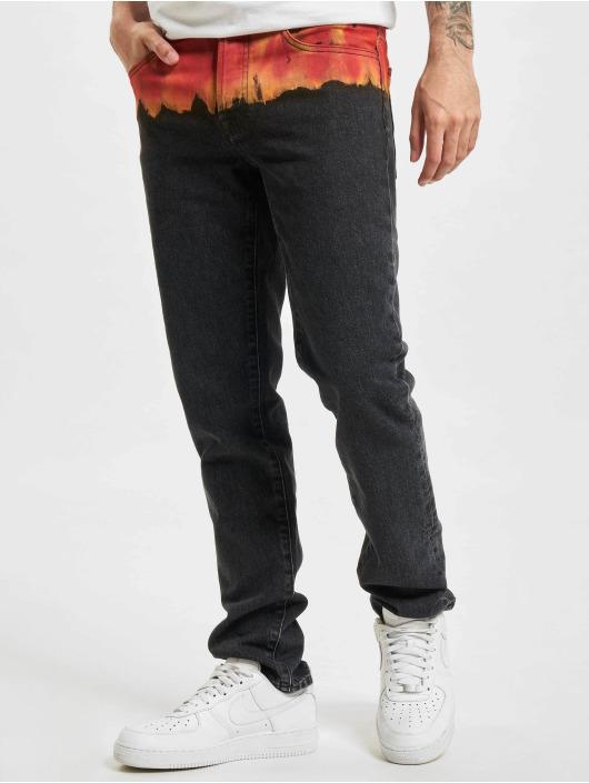 Marcelo Burlon Slim Fit Jeans Bleach Flames zwart