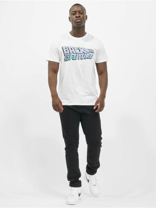 Merchcode T-Shirt Back To The Future Shiny Logo blanc
