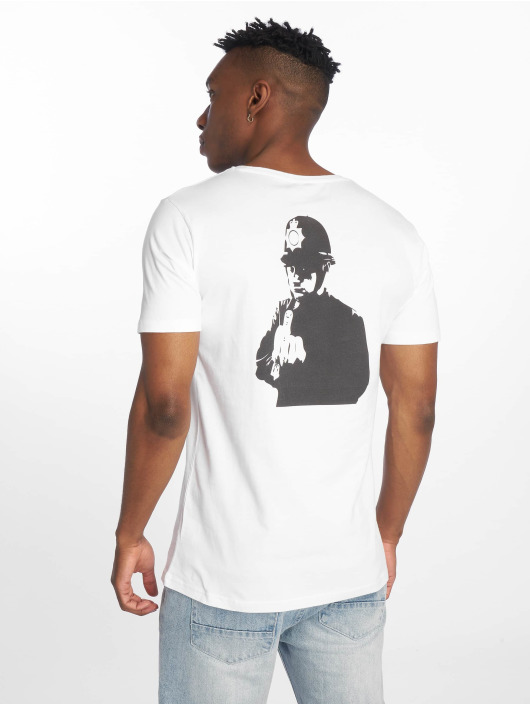 Merchcode T-Shirty Banksy Officer bialy