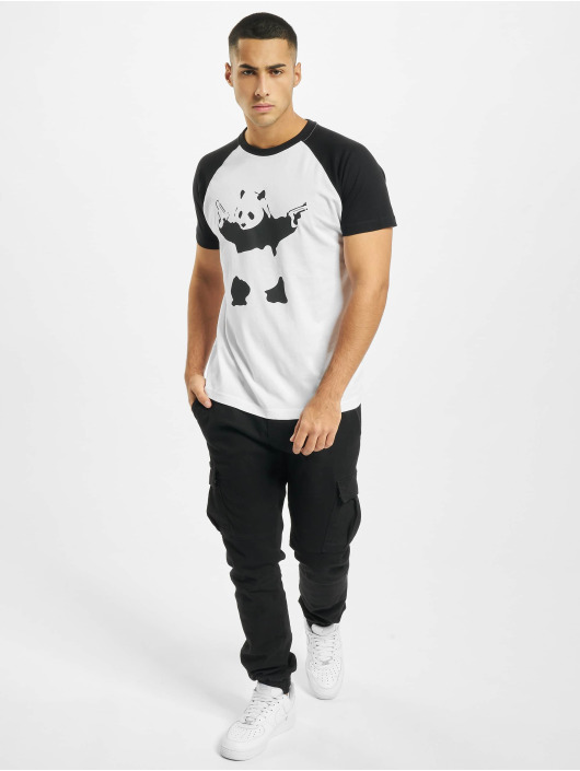 Merchcode T-skjorter Banksy Panda Raglan hvit