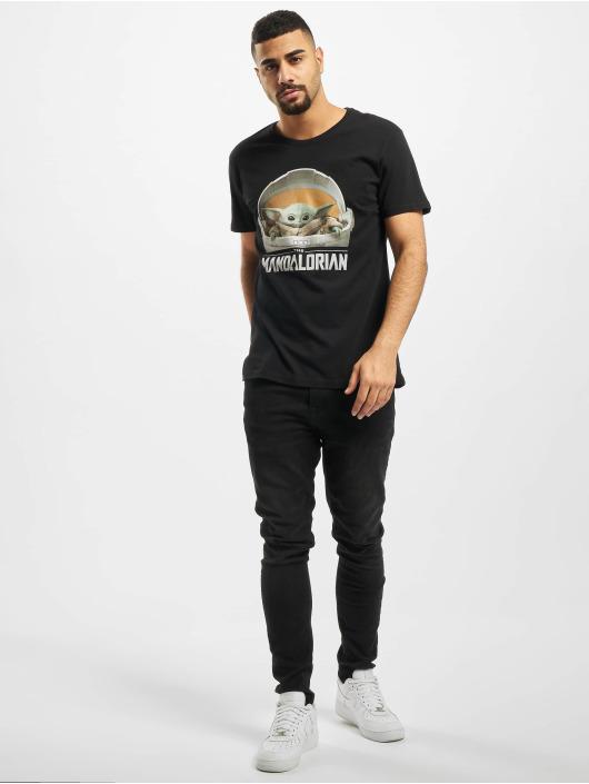Merchcode T-skjorter Baby Yoda Mandalorian Logo svart