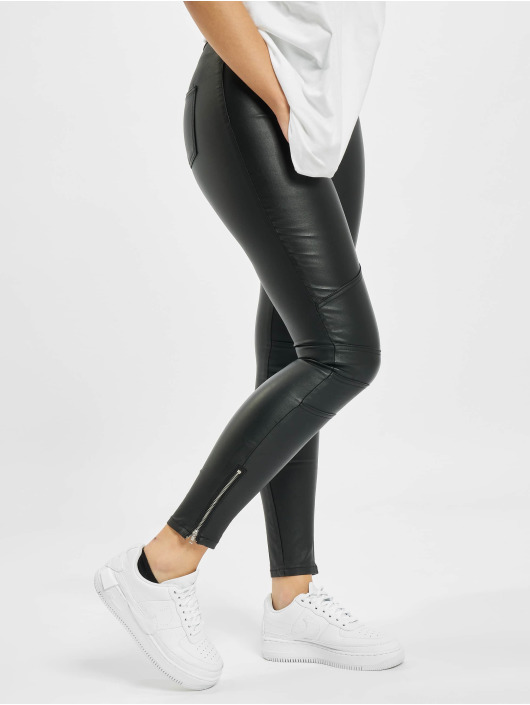 Missguided Úzke/Streč Vice Double Popper Coated Biker èierna