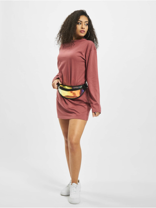 Missguided Šaty Basic T-Shirt Dress Longsleeve èervená