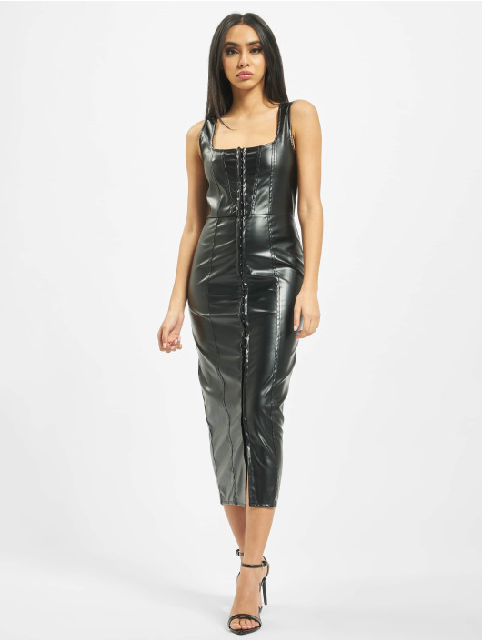 Missguided Šaty PU Hook And Eye Bodycon èierna
