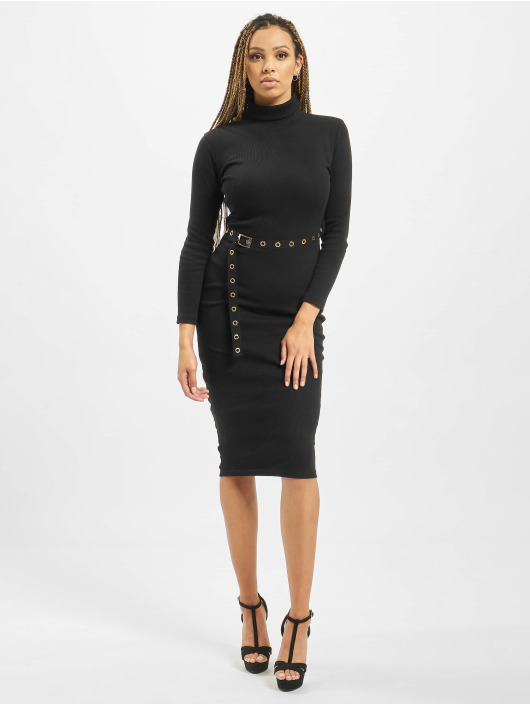 Missguided Šaty Petite Roll Neck Belted èierna