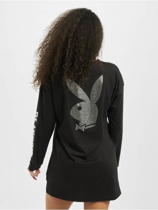 Missguided Šaty Playboy Diamante Back Longsleeve T-Shirt èierna