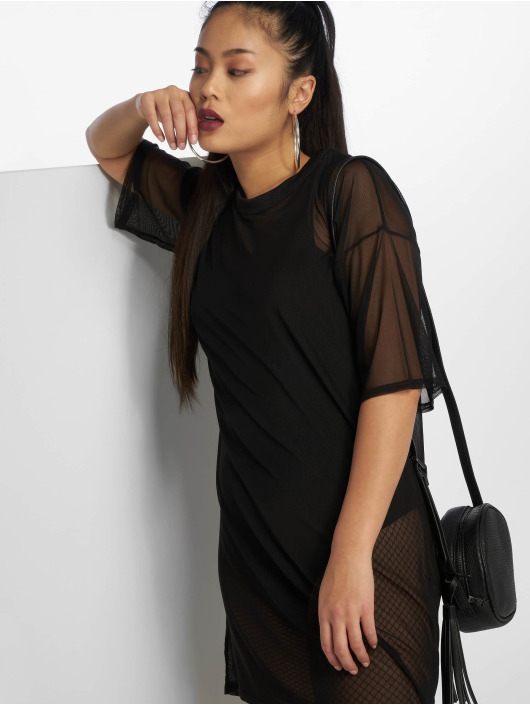 Missguided Šaty Oversized Mesh čern