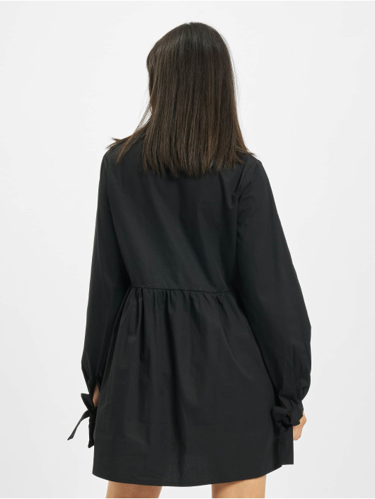 Missguided Šaty Tie Cuff Shirt Horn Button čern