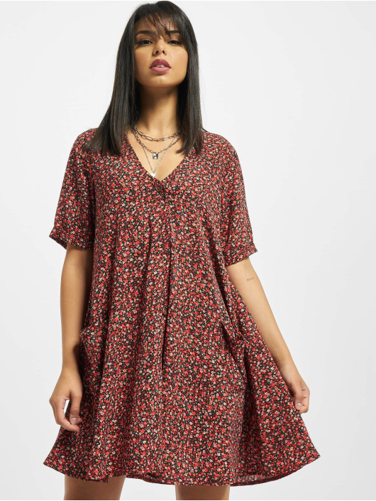 Missguided Šaty Button Thru Smock Floral červený