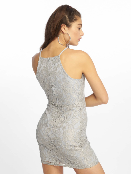 Missguided Šaty Lace Square Neck šedá