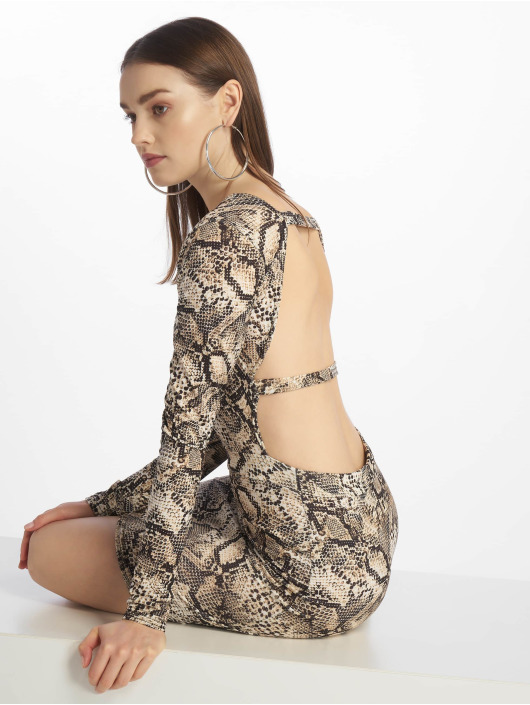 Missguided Šaty Long Sleeve Open Back šedá