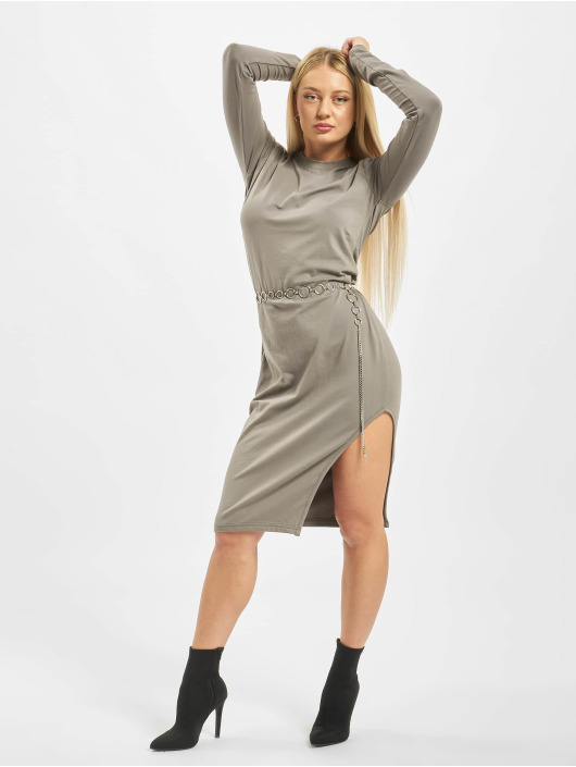 Missguided Šaty Side Split Midi Longsleeve Plain šedá