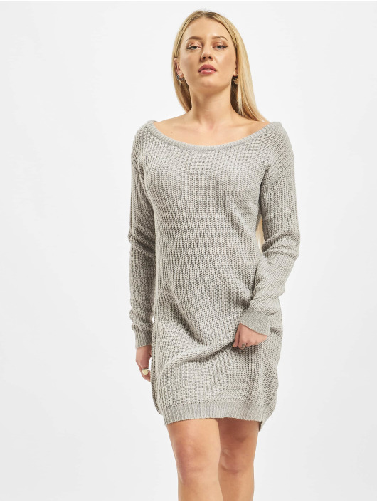 Missguided Šaty Ayvan Off Shoulder Jumper šedá
