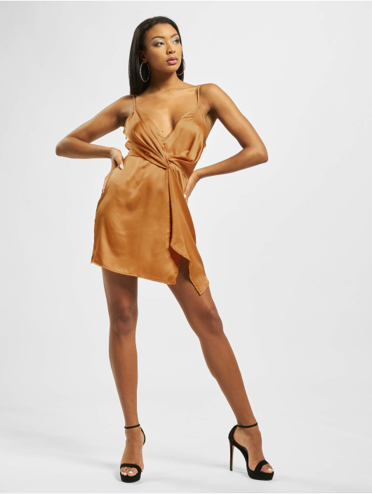 Missguided Šaty Strappy Twist Shift žltá