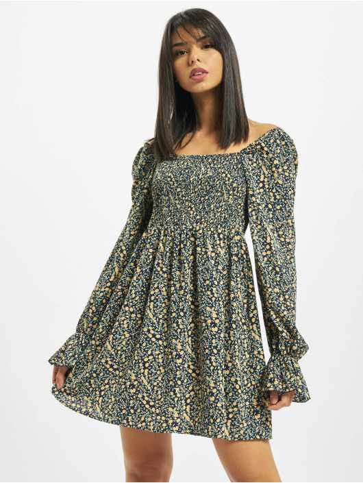 Missguided Šaty Milkmaid Shirred Bust Mini Floral žltá