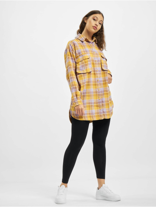 Missguided Šaty Oversized Shirt Check žlutý