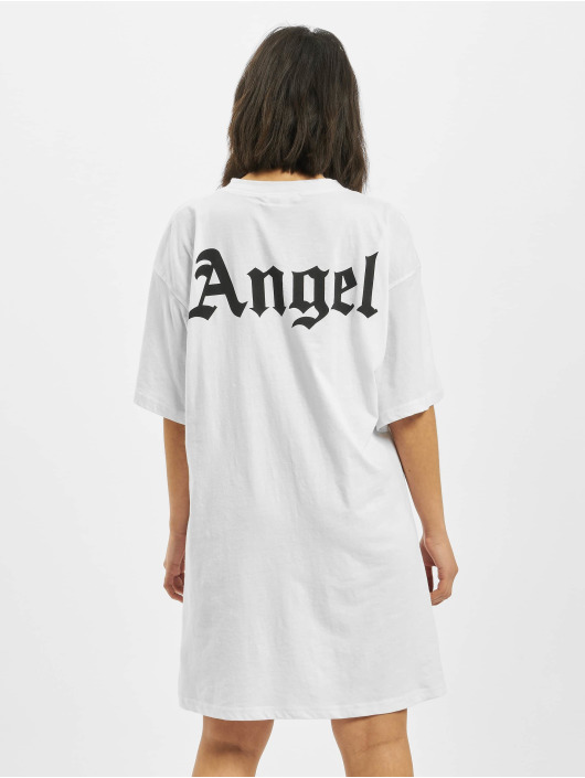 Missguided Šaty Angel Back Print Oversized bílý