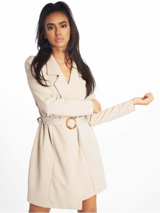 Missguided Šaty Long Sleeve Belted Blazer béžová