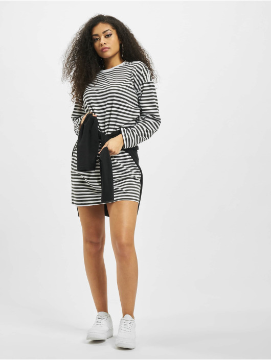 Missguided Šaty Oversized Longsleeve Stripe T-Shirt biela