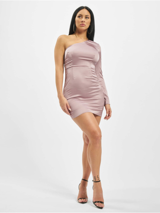 Missguided Šaty One Sleeve Stretch Satin Mini fialová