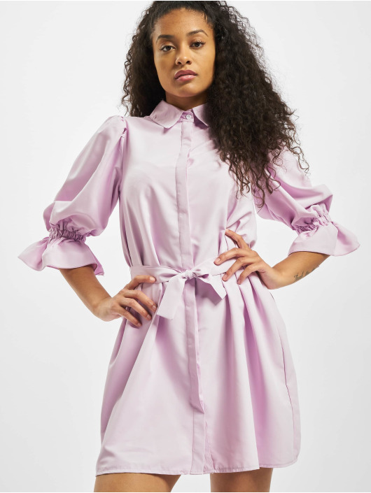 Missguided Šaty Puff Sleeve Belted Mini Shirt fialový