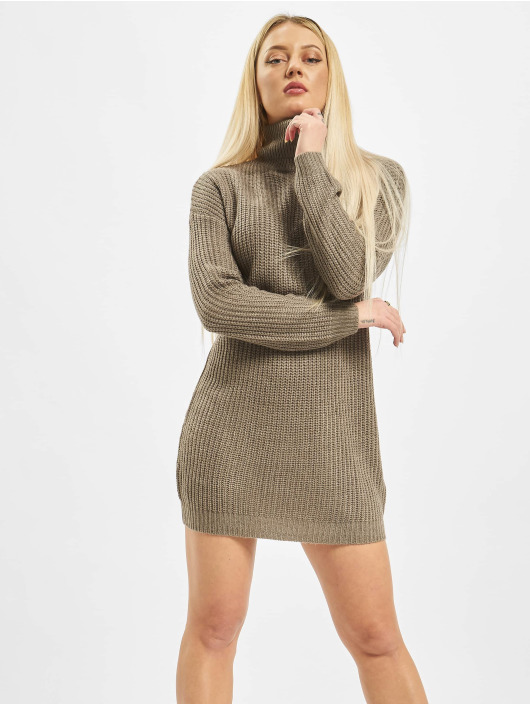 Missguided Šaty Roll Neck Basic hnědý