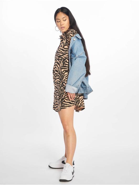 Missguided Šaty Oversized Ls Zebra Shirt hnedá