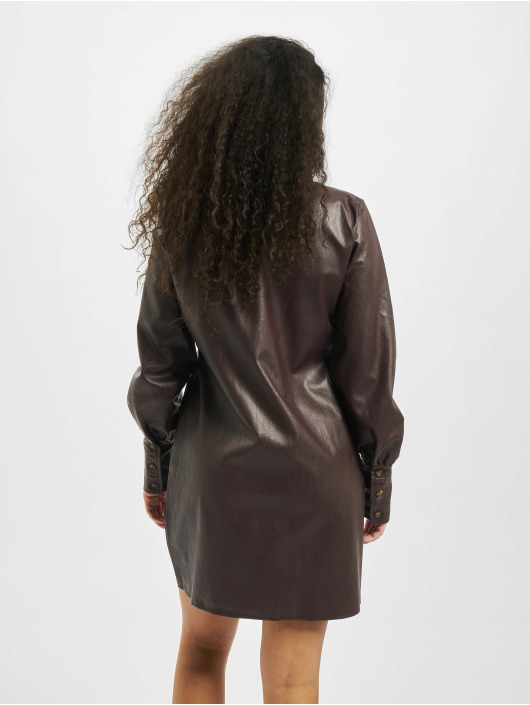 Missguided Šaty Tall Faux Leather hnedá