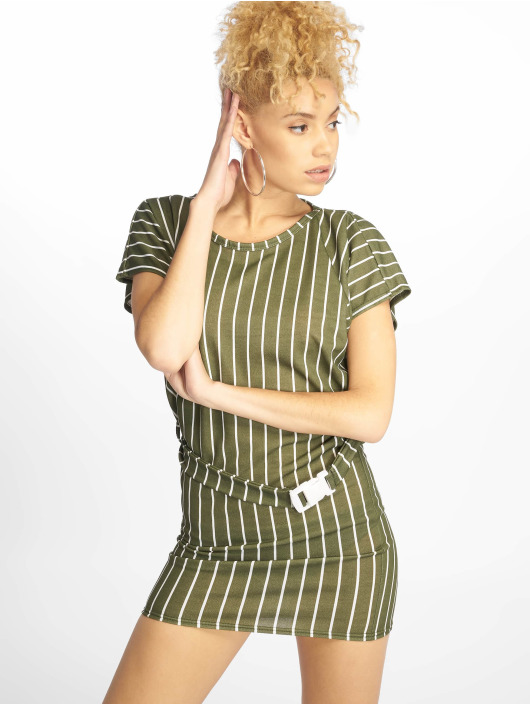 Missguided Šaty Tshirt Dress Buckle Belt kaki