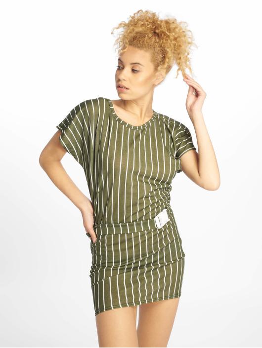 Missguided Šaty Tshirt Dress Buckle Belt kaki