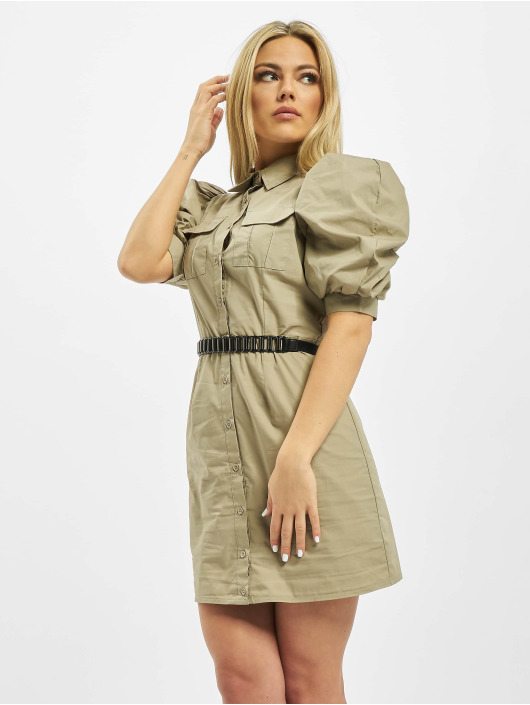 Missguided Šaty Poplin Puff Sleeve Utilty Shirt kaki