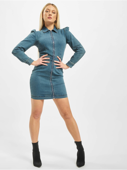 Missguided Šaty Puff Sleeve Zip Through Denim modrá