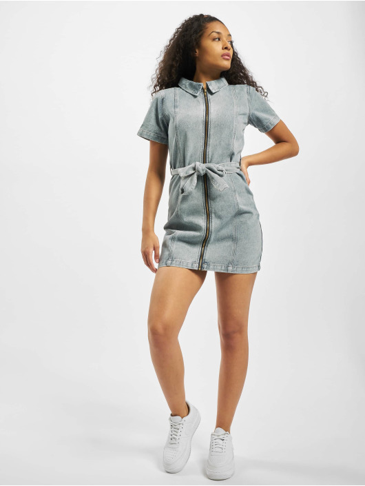 Missguided Šaty Acid Wash Zip Up Self modrý