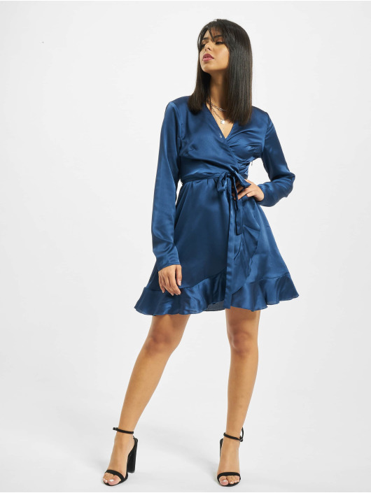 Missguided Šaty Ruffle Hem Wrap Tea modrý
