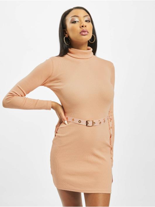 Missguided Šaty Roll Neck Belted Longsleeve Mini oranžový